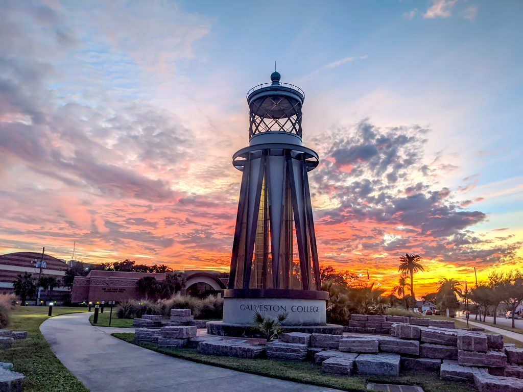 Galveston College Beacon at Sunset