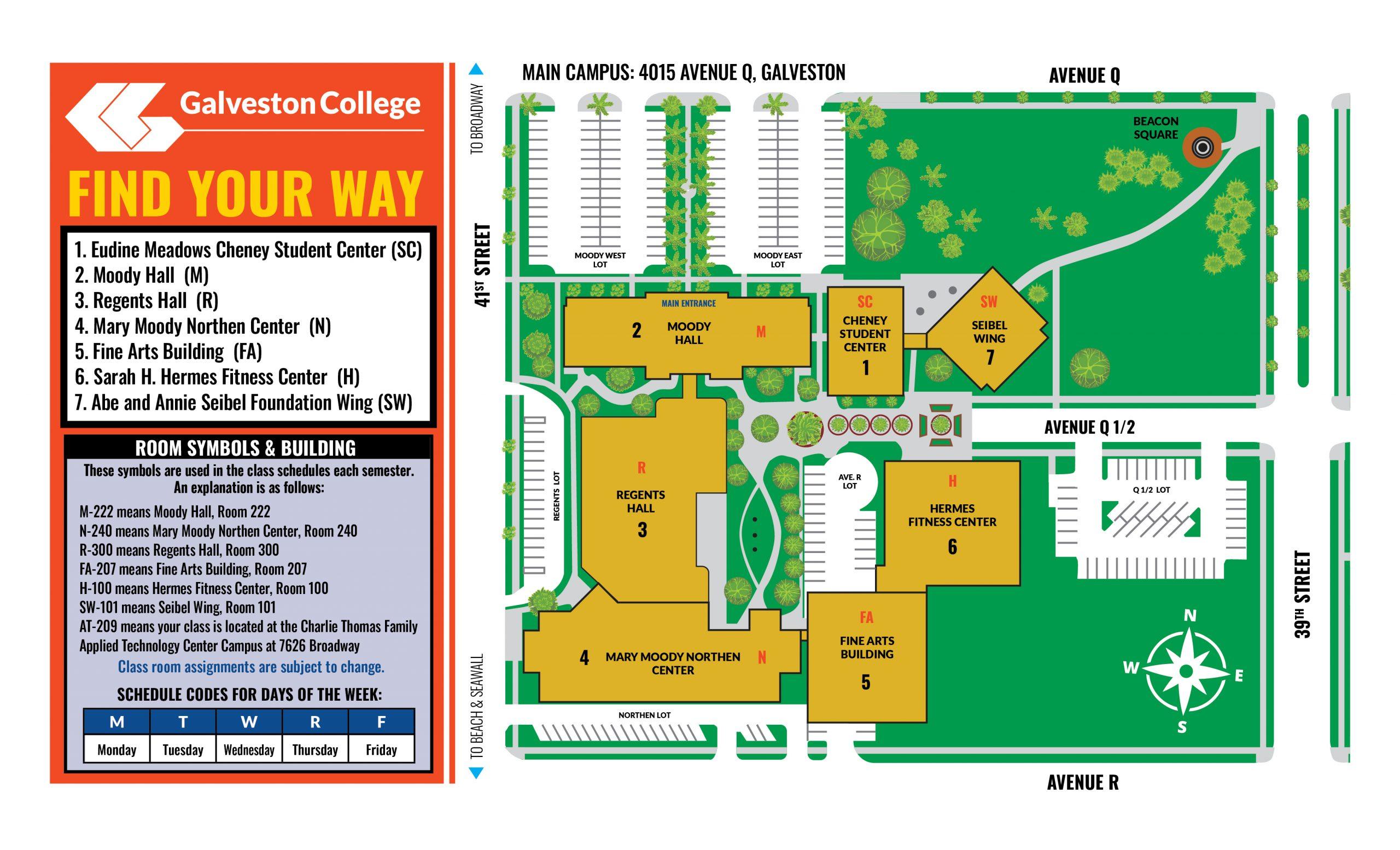 Galveston College Main Campus Map